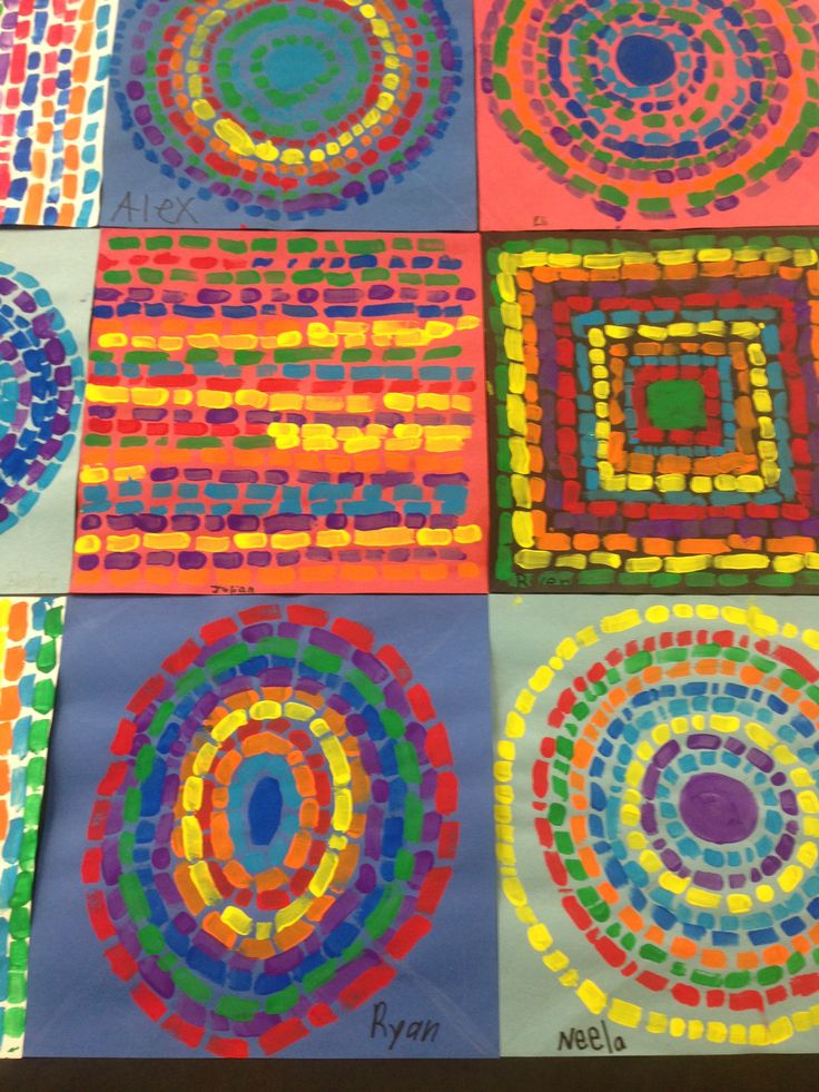 First grade painting in the style of Alma Thomas