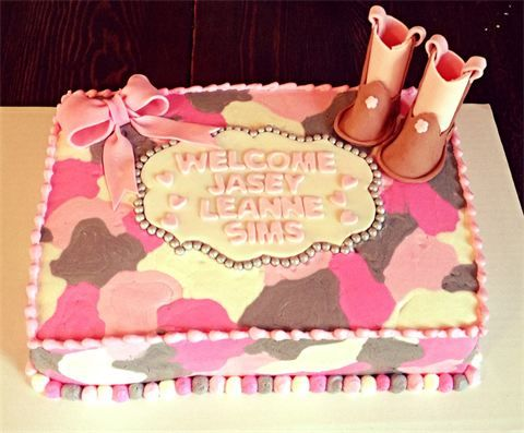 Cowgirl, camo baby shower cake