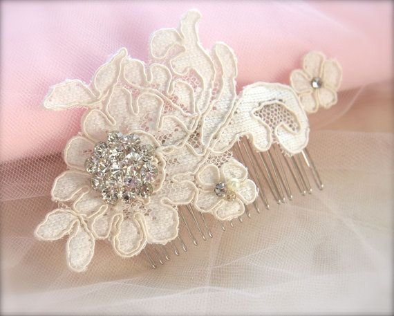 Vintage Lace Bridal Headpiece, Champagne lace Wedding Hair Accessory Ivory Lace, vintage rhinestones, pearl, with Comb