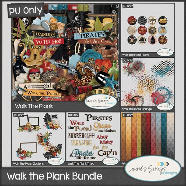 Walk the Plank Digital Scrapbook Bundle. Perfect for those Disney Pirate adventures or for your little ones who LOVE Pirates