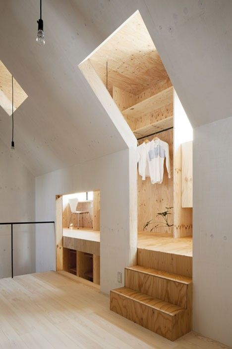 Not sure how this happened architecturally (but the closet appears to be a dormer)...and we like it!  Indoors / Outdoors