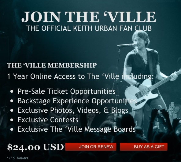 "Join @Keith Urban 's official Fan Club ""The 'Ville....look me up, my username is kufan4ever ❤ www.keithurban.net/login"