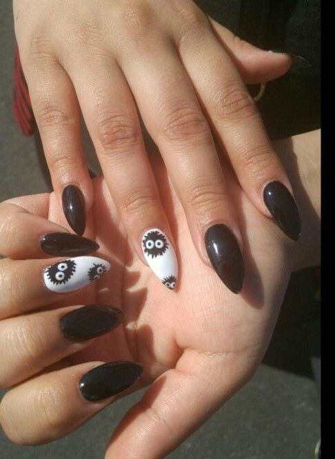 Shiny black stiletto nails with soot sprite anime nail art. Soot sprites  from animated movies - Best 25+ Anime Nails Ideas On Pinterest Sailor Moon Nails, Aot
