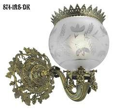 """Victorian Wall Light - Rococo Gaslight Sconce Recreation C 1850 (874-1RS-DK) When we found this antique gaslight sconce original, we just had to recreate it.  It is just so gorgeous. Believed to be originally made by Hooper Circa 1850, it is simply a joy. That wonderful wall canopy with the typical Victorian grape and leaf pattern moving into a lovely sweeping arm with gas key, makes a real statement.  The matching 2 5/8"""" shade fitter with clusters of grapes cascading down is just so…"""