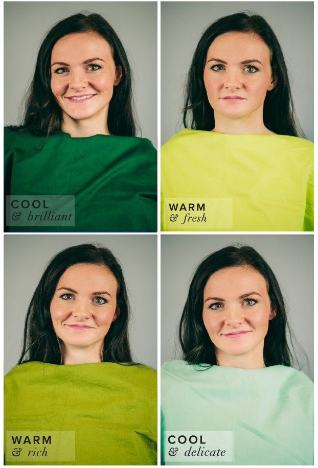 Winter Color Complexion Test.  Different Shades of Green: Lime, Forest, Olive, Mint.  Hunter or Forest Green best suits her complexion.