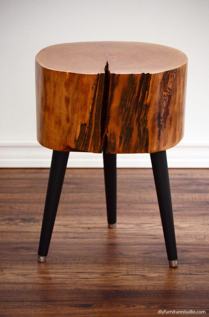 DIY Stump Table With Black Mid Century Modern Legs.