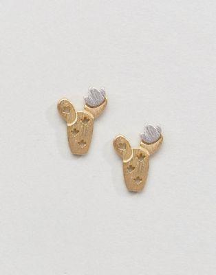Orecchini a bottone con cactus di metallo in edizione limitata