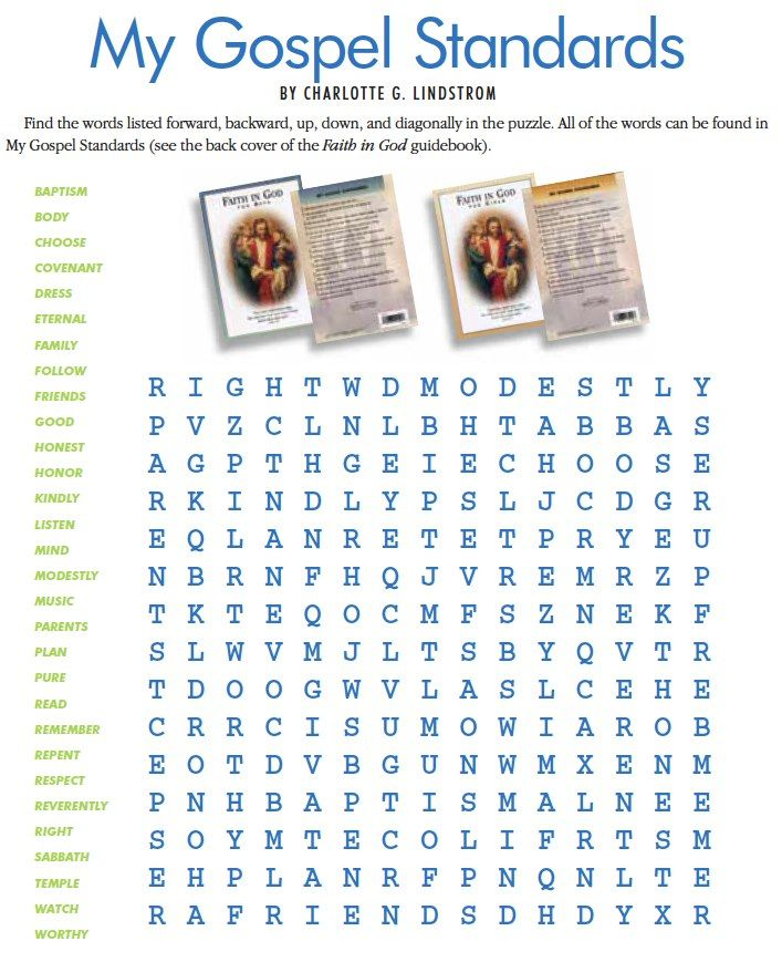 My Gospel Standards word search...this site LDS Games has ...