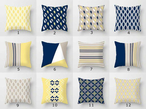 throw pillow covers blue yellow beige