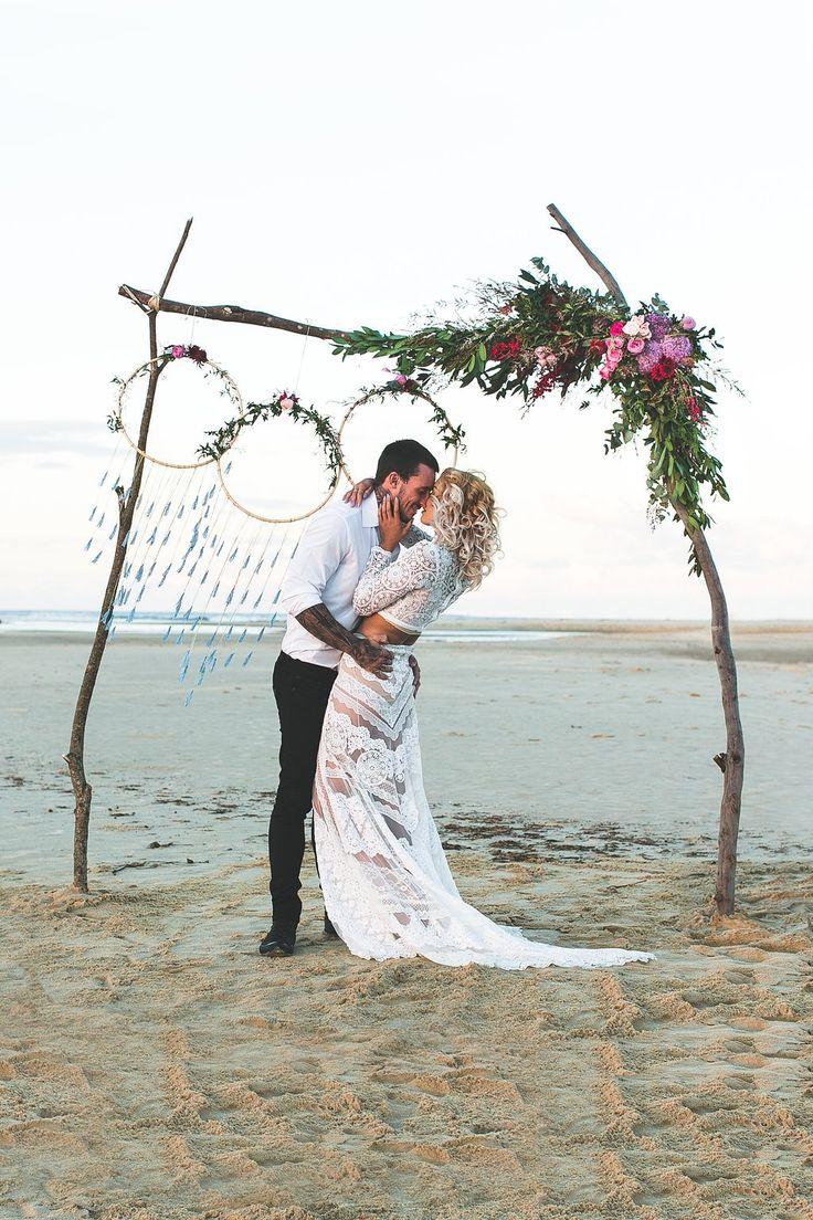 Stunning styled shoot at Currimundi Lake  Photographer: Adriana Watson Dress: Judy Copley  Hair: Rolling Scissors Dream Catchers: Evie Boho