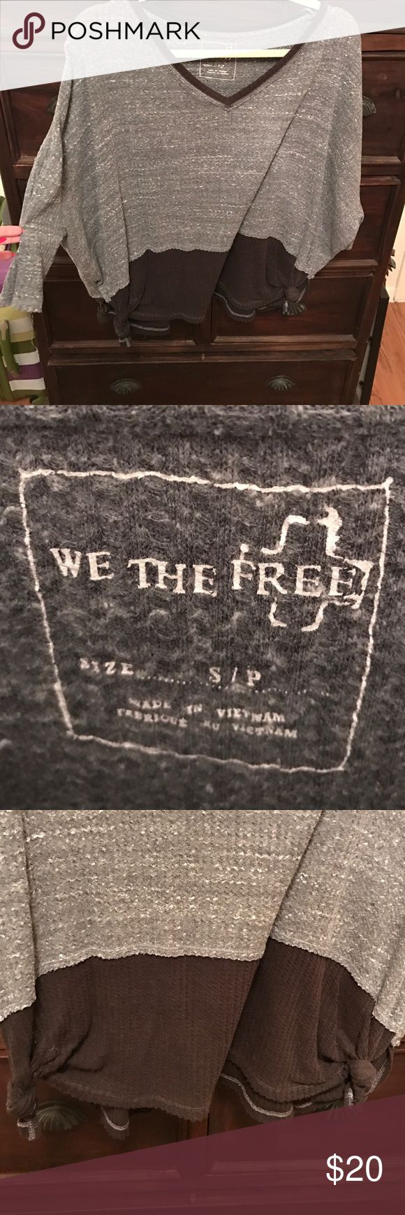 We the Free - Grey/Black Henley Top Super comfortable We The Free (Free People) grey/black henley. Knots at the bottom ends of the shirt, able to untie. Size S. Free People Tops