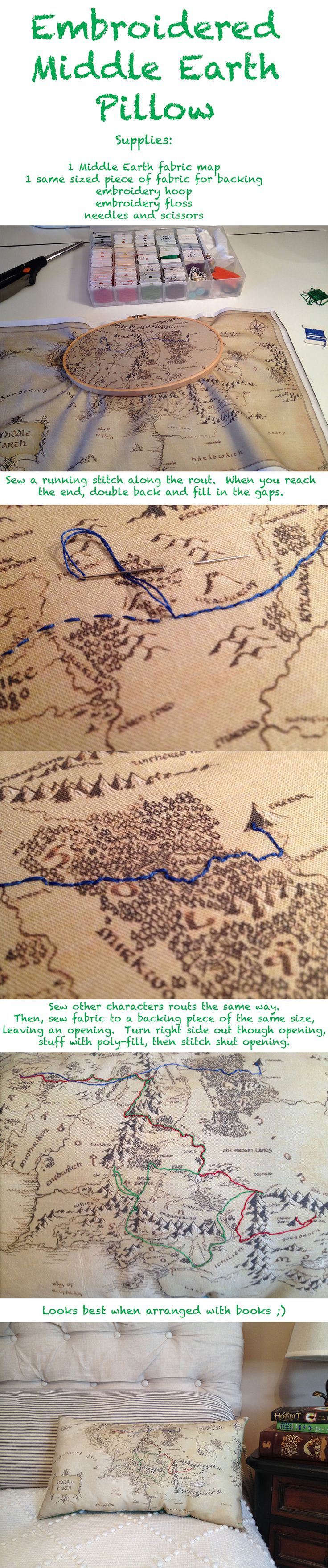 Make a Middle Earth pillow embroidered with the journeys of your favorite characters. Follow link to find the map fabric!