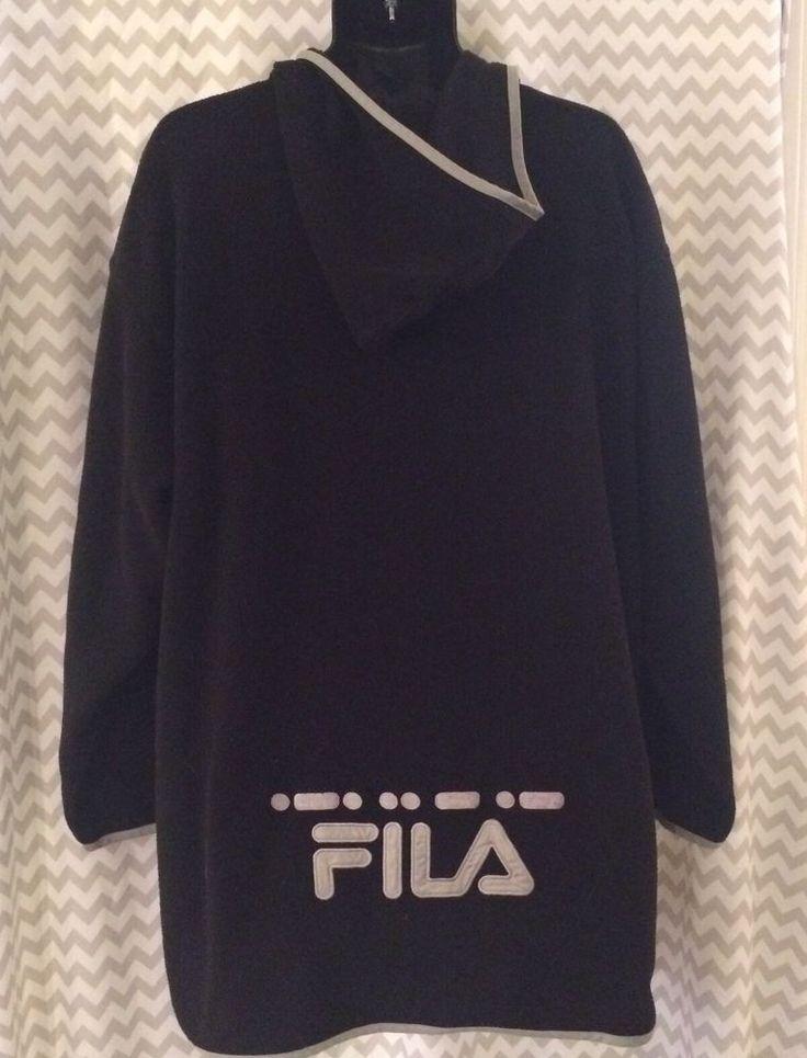 FILA Pullover Hoodie Sweatshirt Fleece Vintage Big Tall Black Grey Size XL (C1)  | eBay
