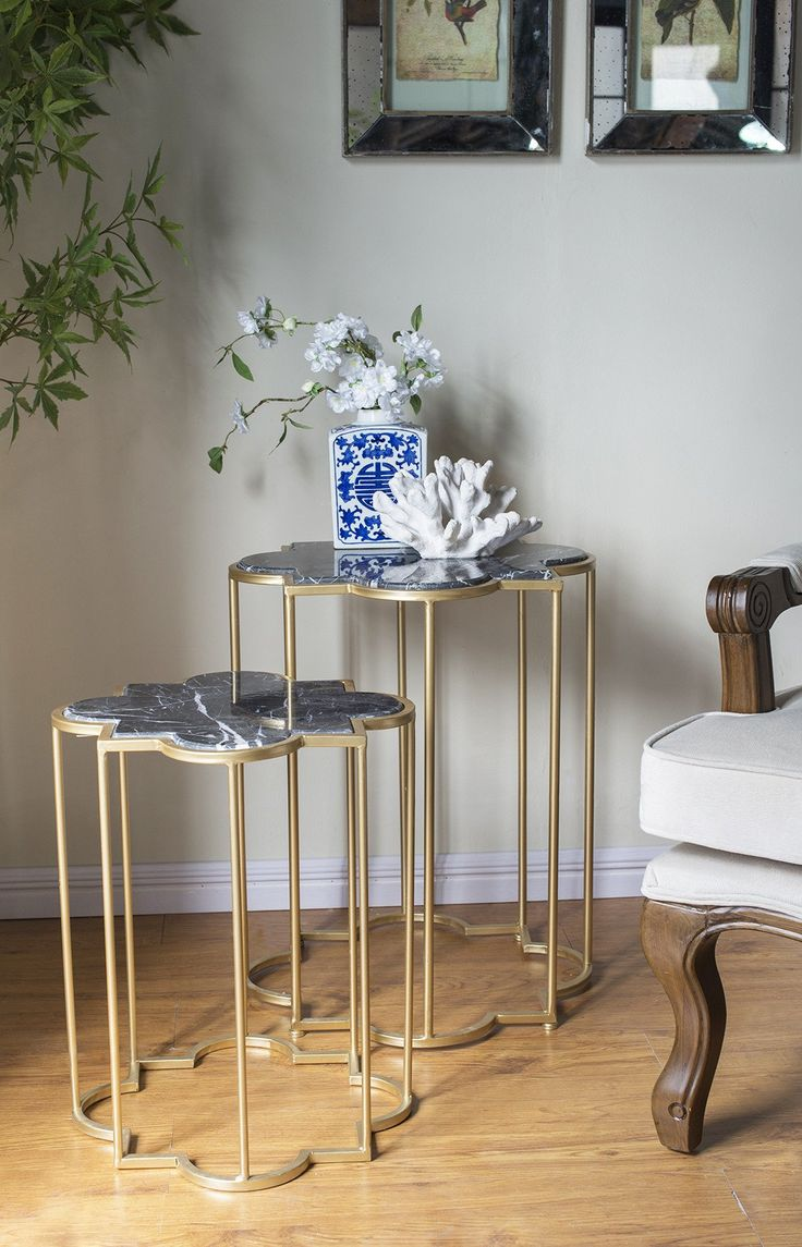 Set/2 Marble Top And Metal Table Set