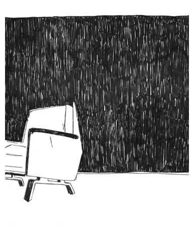 Affaire // illustration // black and white // fineliner // realistic // graphic // drawing // chair // room // empty space