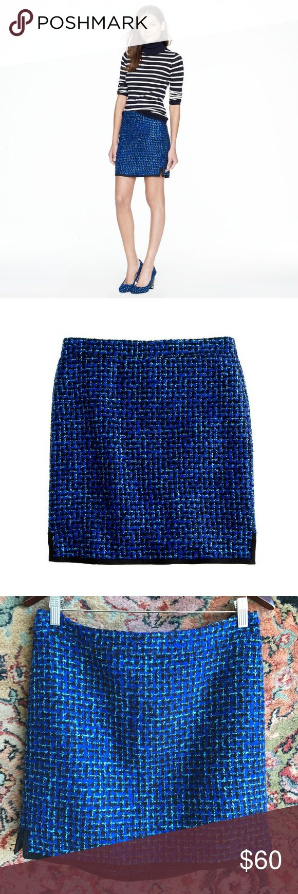 """J Crew Postage Stamp Mini Skirt in Indigo Tweed We love an abbreviated silhouette but went to great lengths to tweak this mini's hem so you'll never feel overexposed. Crafted in a subtle A-line shape to hang off the hip, it's absolutely of the moment in an indigo tweed that makes your entire wardrobe pop.  Acrylic/poly/wool/cotton. Sits above waist. Back zip. 16 1/2"""" long, 16"""" waist  Lined. J. Crew Skirts"""