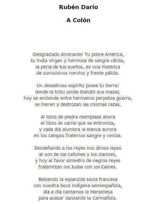 Ejemplo de Modernismo. Fragmento del poema a Colón de Ruben Darío.