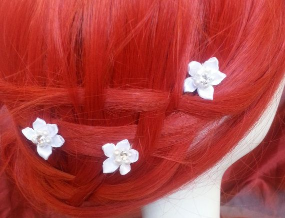 Trio of small fabric flower bobby pins with pearl and rhinestone accents #design #hairaccessories