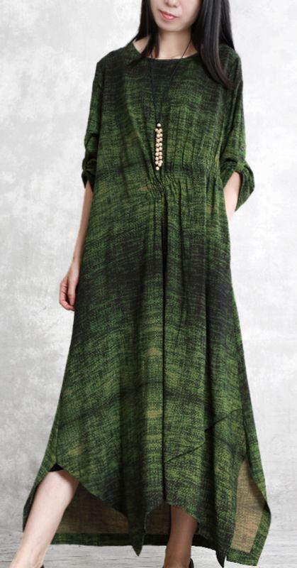 9d3aba2b5c64 Modern asymmetric hem linen Robes 18th Century Runway green A Line Dress  summer
