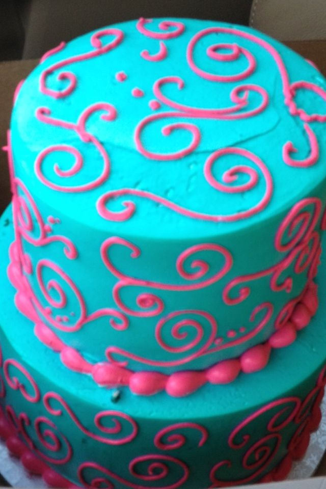 Turquoise (teal, mint) and hot pink cake for birthday party or baby shower