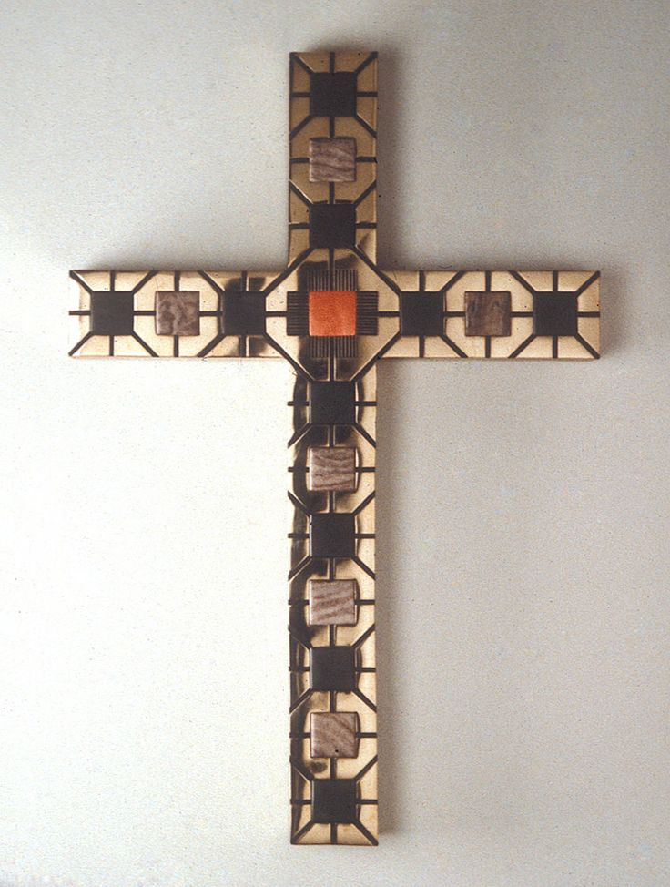"Florentine Cross | Theodore Prescott Florentine Cross 1984-1985. brass, slate, alabaster, pigment (36"" x 24"", beams 4"" x 3.25"")"