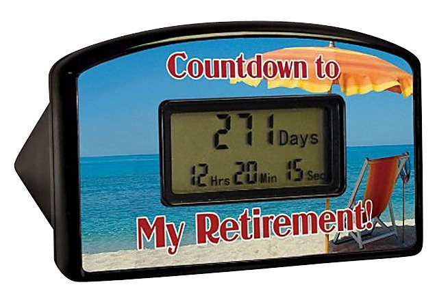 """Big Mouth Toys Countdown Timer - Retirement Red Chair (Blister) Wondering how much longer you'll have to work for the man? With this great countdown clock you'll know exactly when it's time to retire. Count down the hours, minutes and seconds with this desktop countdown clock. The clock is 4"""" wide by 2.5"""" high. Once the clock reaches the milestone, it can be reset to start counting again. Reset it over and over through the year 2099 for years of enjoyment."""