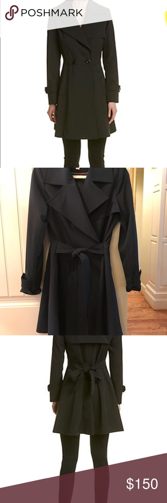 Trina Turk Rain Coat Trench size 6 Super Cute Black Trina Turk Rain Trench Coat, lined, excellent quality and very flattering! Has the A line look which is very attractive and complementary on most women. Only worn once and in perfect condition! Non smoking home Trina Turk Jackets & Coats Trench Coats