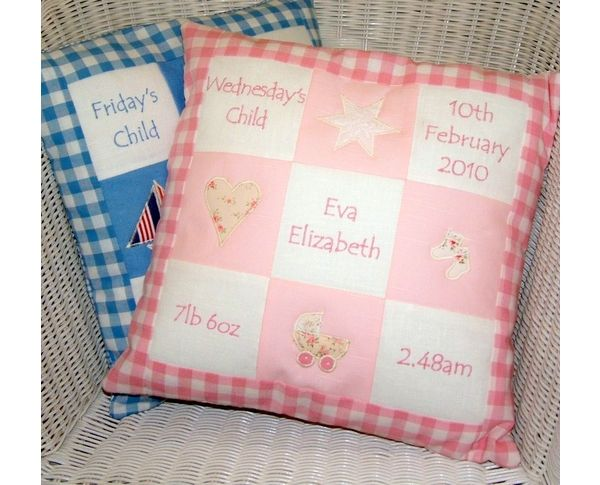 Our best seller!  Personalise this unique cushion with the details of your child's birth.