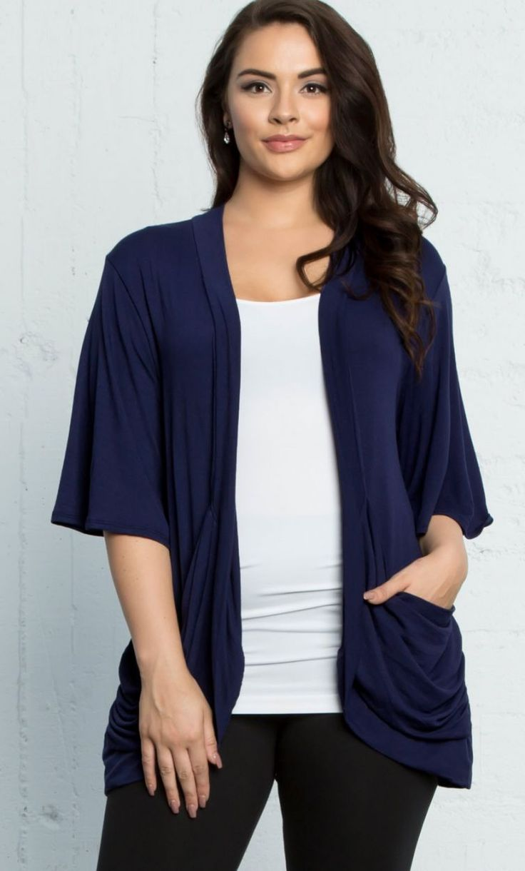 Malibu Lane Cardigan, Indigo (Women's Plus Size) #Plussizeclothing http://www.planetgoldilocks.com/plussize_clothing Malibu Lane #Cardigan, Indigo (Women's Plus Size) from: Kiyonna Clothing Malibu Lane Cardigan. This open-front layering piece features draped pockets and flutter sleeves to keep you cool on warmer weather days. This is one comfy, lightweight sweater you're going to want in your wardrobe! Available exclusively in women's plus sizes. #kiyonnafashions #madeintheusa