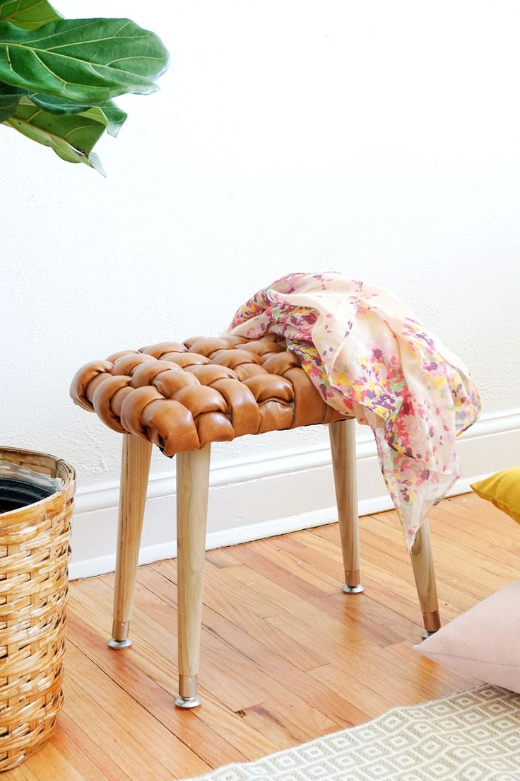 DIY Woven Leather Stool   Sugar & Cloth
