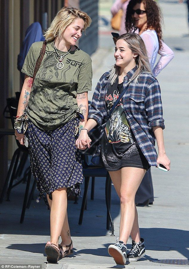 Gal pals: Paris Jackson walked hand-in-hand with her BFF Melissa Lauren in Venice Beach on Wednesday