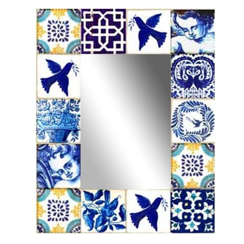 Mirror Blue and White Tile | 700x570mm by Anna Chandler on THEHOME.COM.AU