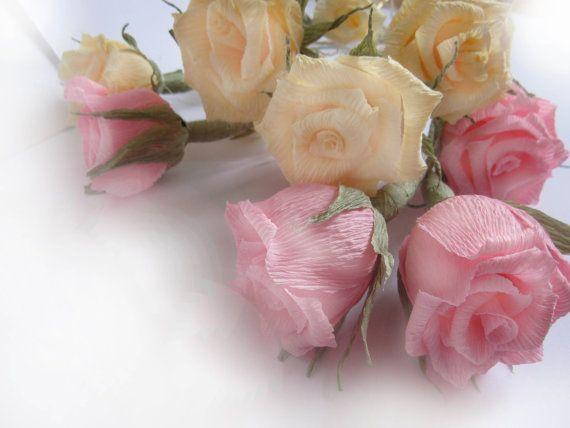 10 pcs IVORY 10 pcs Pink Roses Paper Wedding by moniaflowers
