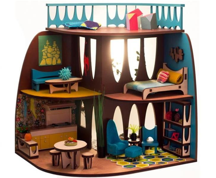 The Arc Flatpack Dollhouse Is Designed In Mid Century