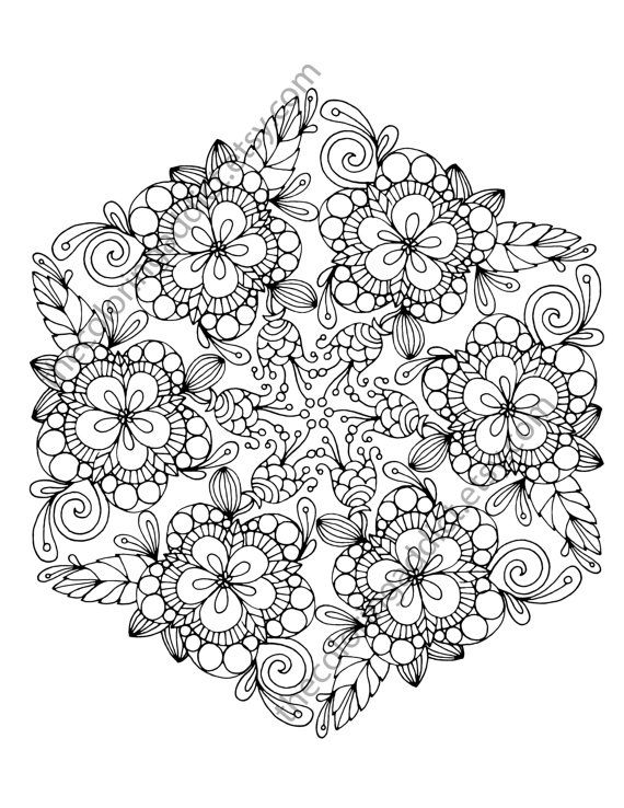 floral coloring page adult coloring page by TheColoringAddict Davlin Publishing #adultcoloring
