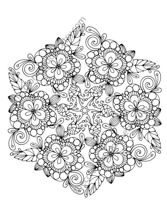 Floral coloring page, adult coloring page, digital flower mandala, henna floral…