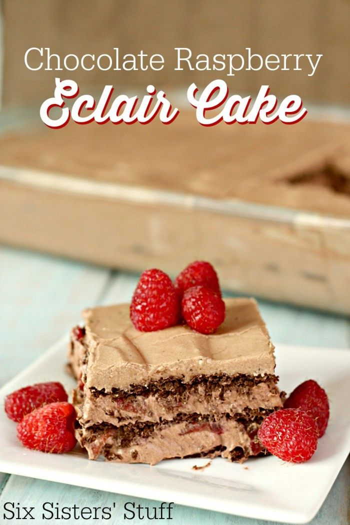 No Bake Chocolate Raspberry Eclair Cake from SixSistersStuff.com - layers of chocolate and fresh raspberries, plus it only takes minutes to throw together!
