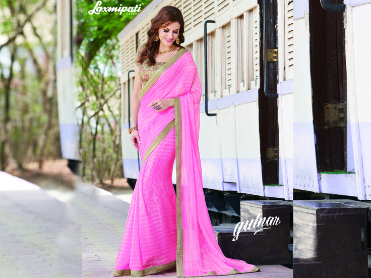 Buy this Exclusive Pink Chiffon Saree with Multicolour Rawsilk Blouse along with Diamonds, Fancy Lace border from Laxmipati. Limited stock! 100% Genuine products! #Catalogue #GULNAR Price - Rs. 2962.00  #GaneshChaturthi #Ganesh #monsoon #Shopping #Shoppingday #ShoppingOnline #fashionstyle #ReadyToWear #OccasionWear #Ethnicwear #FestivalSarees #Fashion#Fashionista #Couture #LaxmipatiSaree #Autumn #Winter #Women #Her #She #Mys
