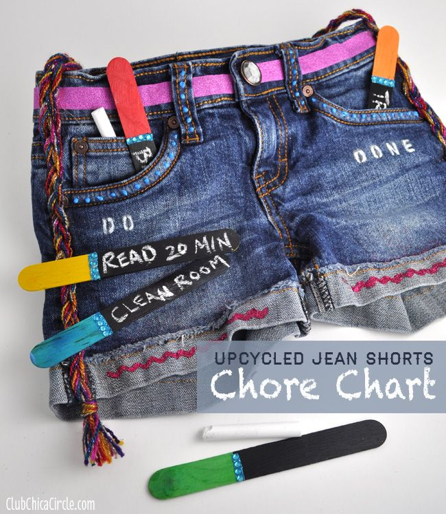 Denim jean shorts upcycled into chore chart for tweens via for Denim craft projects