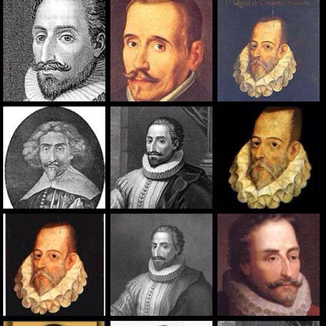 Varios retratos distintos de Miguel Cervantes.