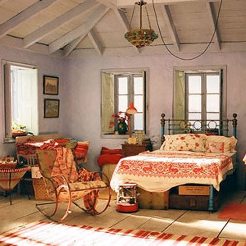 Film Mamma Mia, bohemian style bedroom with beautiful textiles. I'll have the room if my house can be in Greece too.