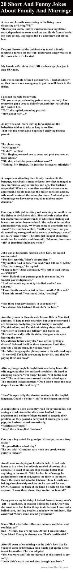 20 Short And Funny Jokes About Family And Marriage Funny Family Jokes Story  Lol Funny Quote