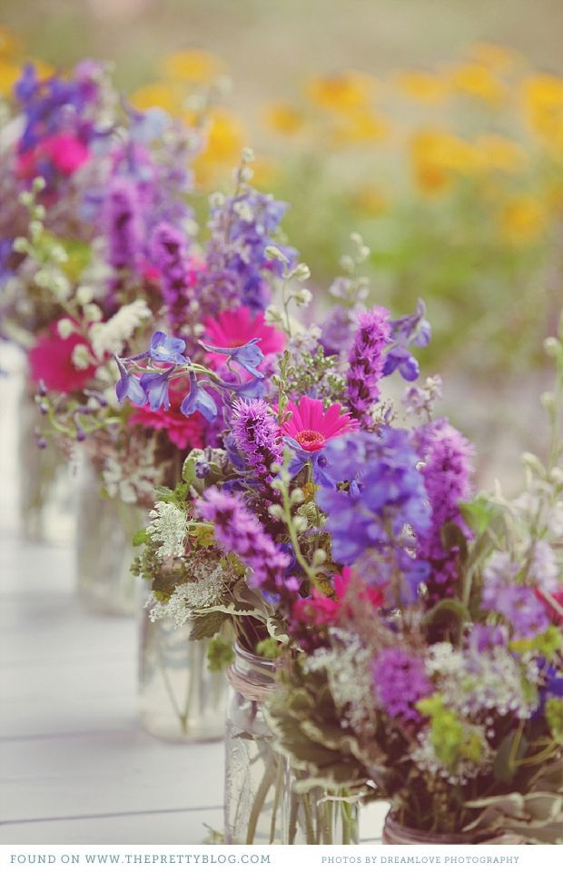 Wildflowers in jewel tones, mason jars filled with queen anne's lace, liatris, delphinium, larkspur and cosmos or   zinnias