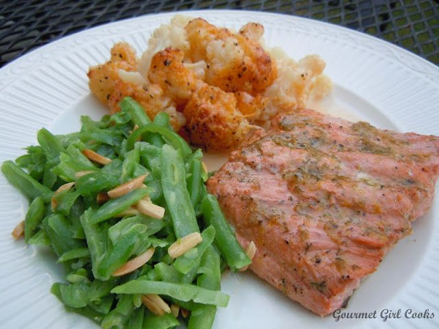 Gourmet Girl Cooks: Lemon-Lime Grilled Salmon and Cauliflower Au Gratin