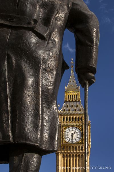 Churchill statue below Big Ben, London - Photography by Brian Jannsen