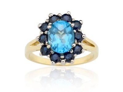 BLUE GALAXY - pierścionek złoty z topazem i szafir