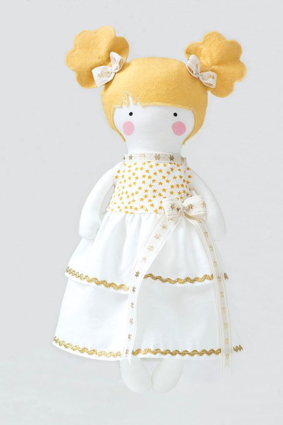 Princess Doll Dress White with Gold Stars by RibizliDesign on Etsy