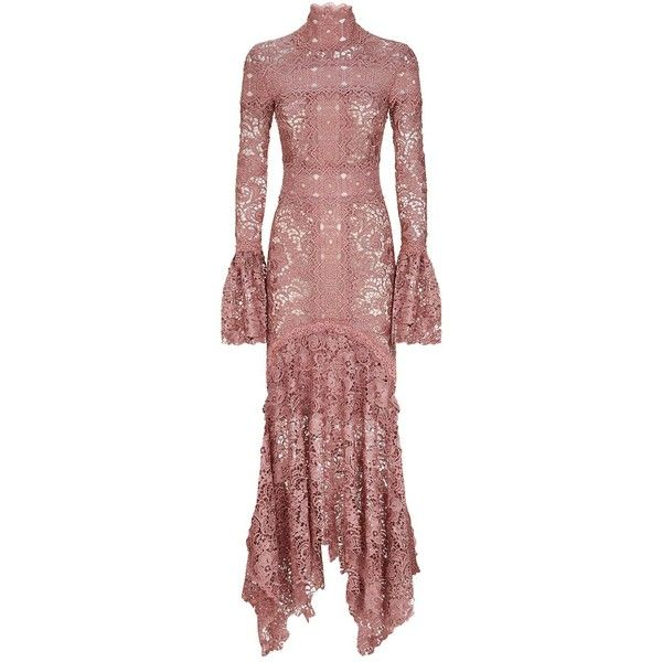 Costarellos Bell Sleeve Guipure Lace Gown ($2,110) ❤ liked on Polyvore featuring dresses, gowns, high neck evening dress, lace evening gowns, red gown, red lace gown and evening cocktail dresses
