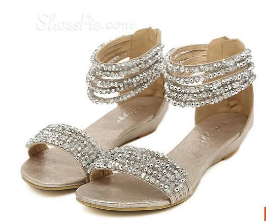 6c0fc2c4ba356e Gorgeous Beading   Rhinestone Ankle Strap Flat Heel Sandals in 2019 ...