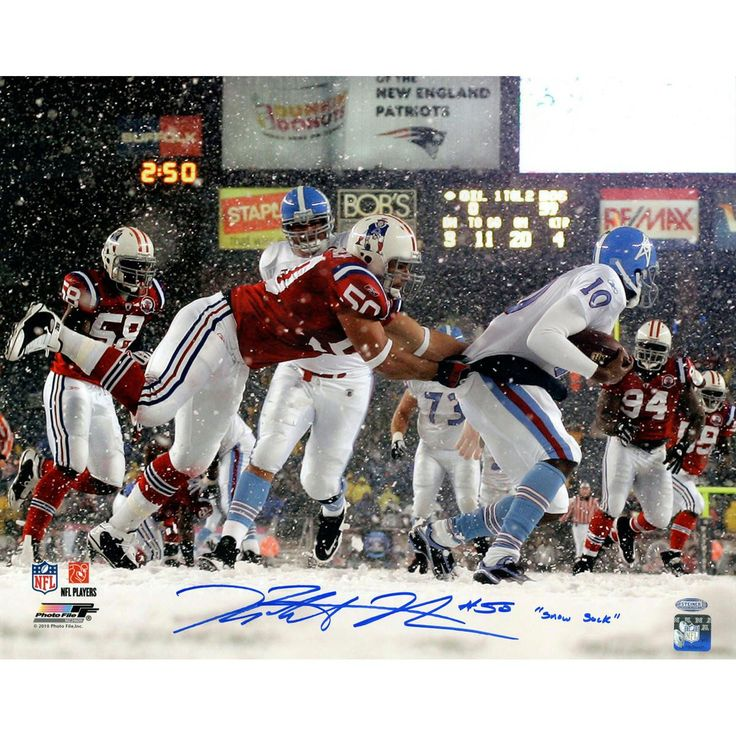 Rob Ninkovich Signed New England Patriots vs Oilers In Snow 16x20 Photo w Snow SackInsc.